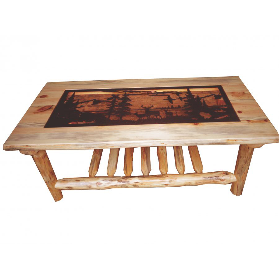 traditional log coffee table with metal insert amish crafted furniture and end tables thomasville showroom riverside corinne dining liberty chairs red marble ethan allen circle