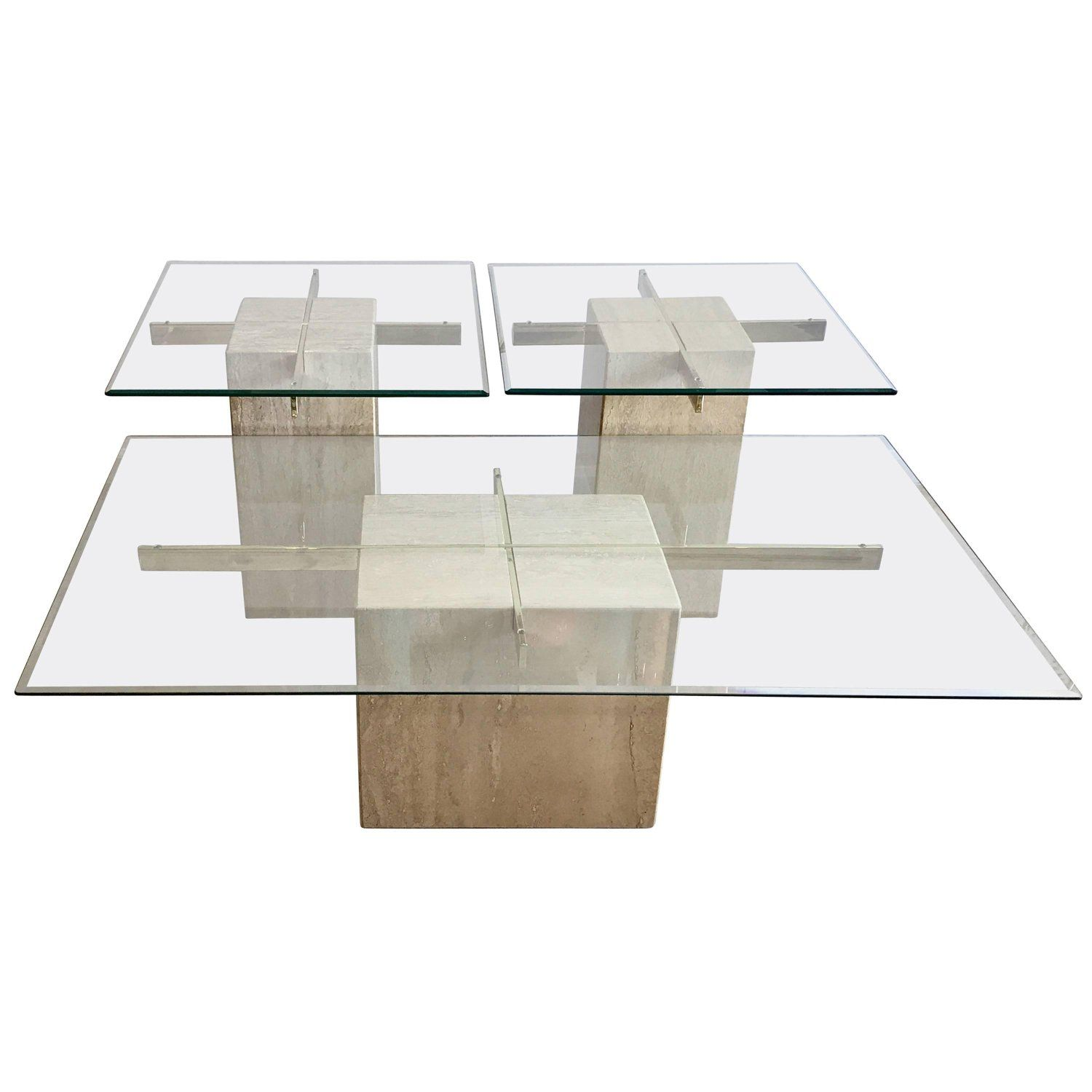 travertine marble and glass coffee table side tables artedi end night diy pallet furniture instructions square metal lexington desk universal summer hill dining threshold shelf