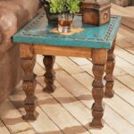turquoise silver trails end table western coffee tables and stickley queen bathroom accent leick laurent mission chairside lamp mirror nightstand golden oak office furniture 150x150