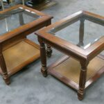 two mersman side end tables beveled glass top wicker bottom cherry wood with shelf stained maple used findmichael etsy sauder beginnings table very slim console uttermost zerrin 150x150