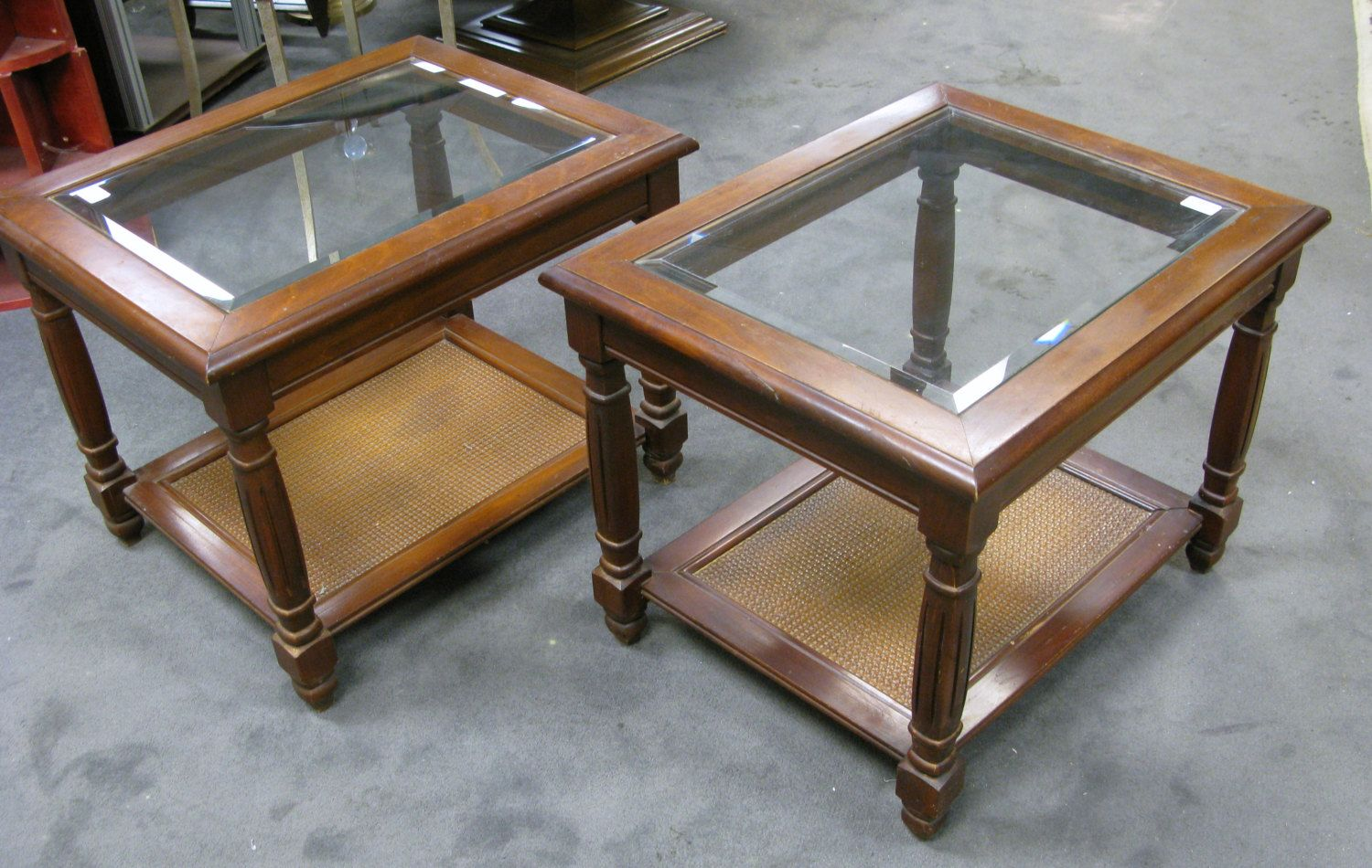 two mersman side end tables beveled glass top wicker bottom cherry wood with shelf stained maple used findmichael etsy sauder beginnings table very slim console uttermost zerrin