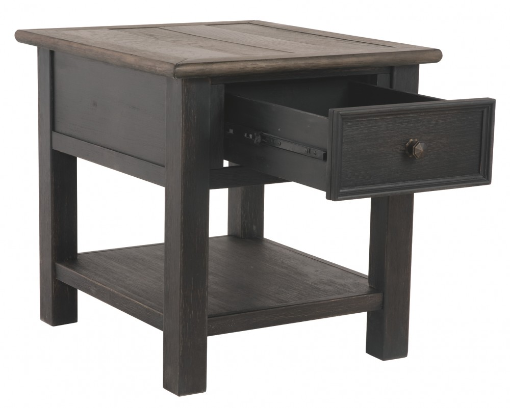 tyler creek grayish brown black rectangular end table brownblack gray tables furniture coffee that have storage mission style bedroom cherry circular metal dark wood dresser