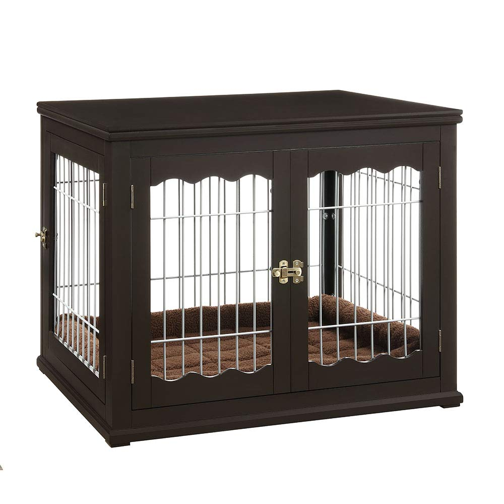 unipaws pet crate end table with wooden wire small dog kennels double doors modern design house indoor use espresso supplies ceramic elephant side white timber patio chairs