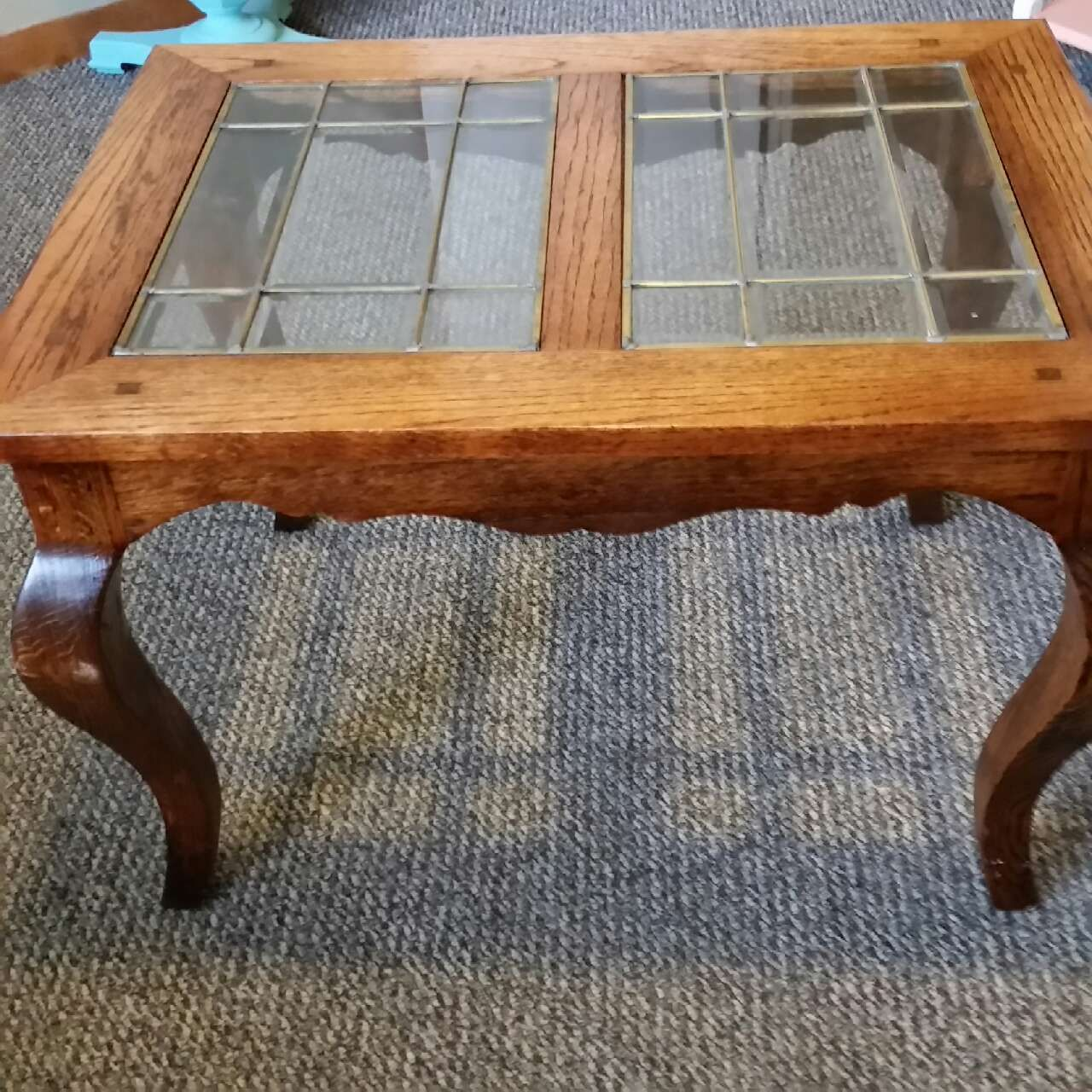 unique end table with leaded glass insert solid oak stained tables bedside for bedroom ethan allen court nightstand sofa dining industrial diy trunk wall hallways universal