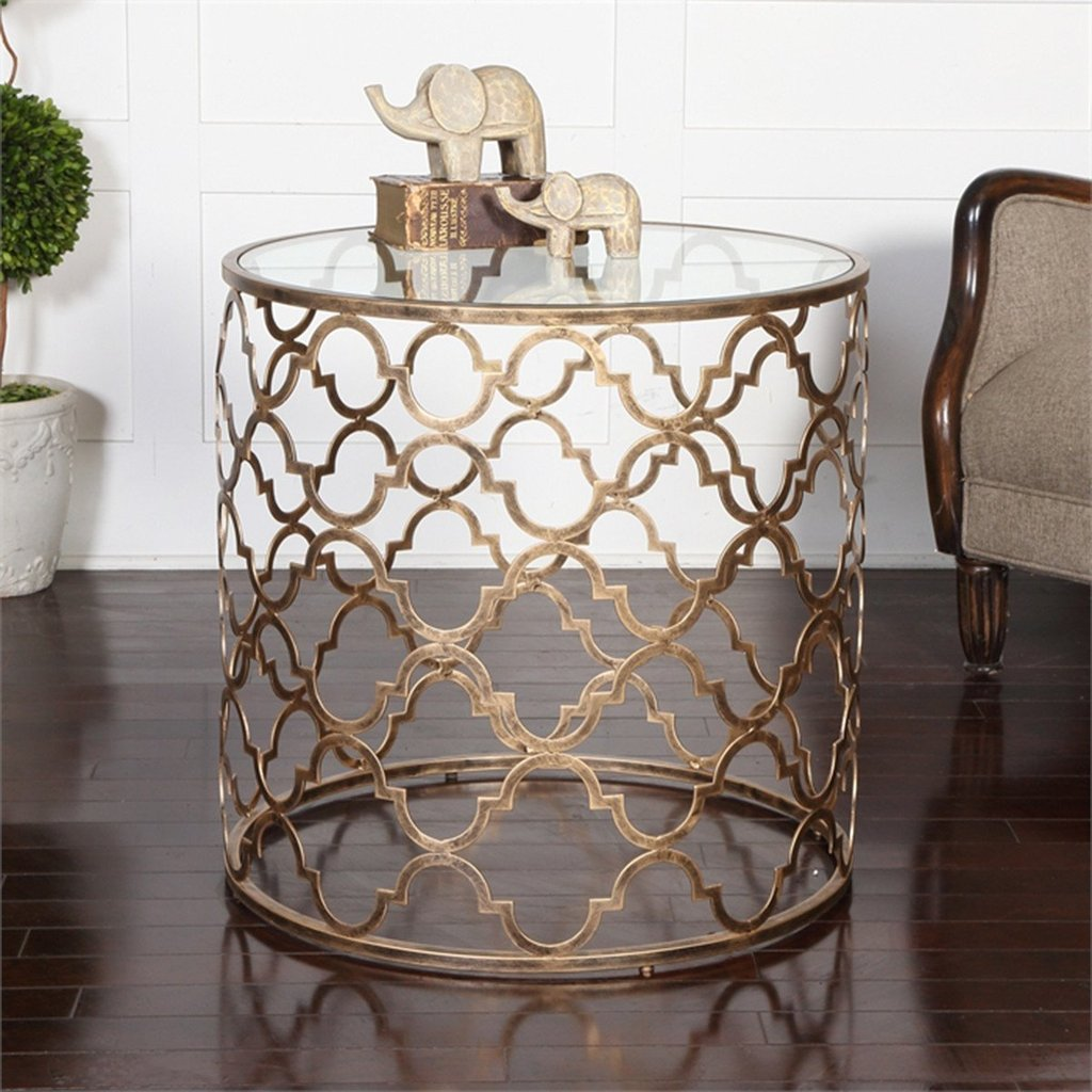 uttermost end tables antique gold iron glass benjamin rugs chung table quatrefoil unfinished furniture beds pulaski edwardian bar galvanized pipe coffee dog crate with wood frame