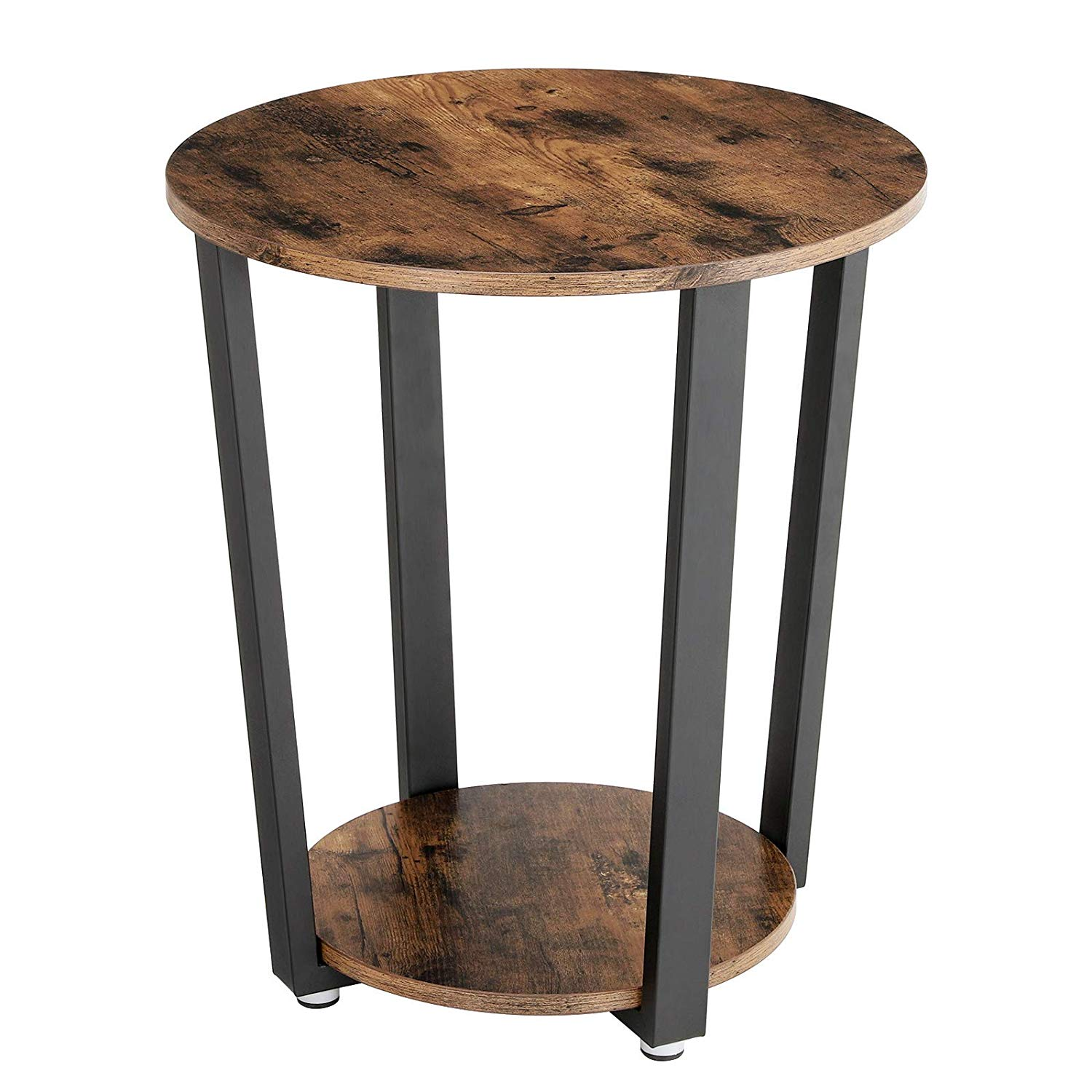 vasagle industrial end table metal side round coffee tables and sofa with storage rack stable sturdy construction easy assembly wood look accent vintage patio furniture trunk