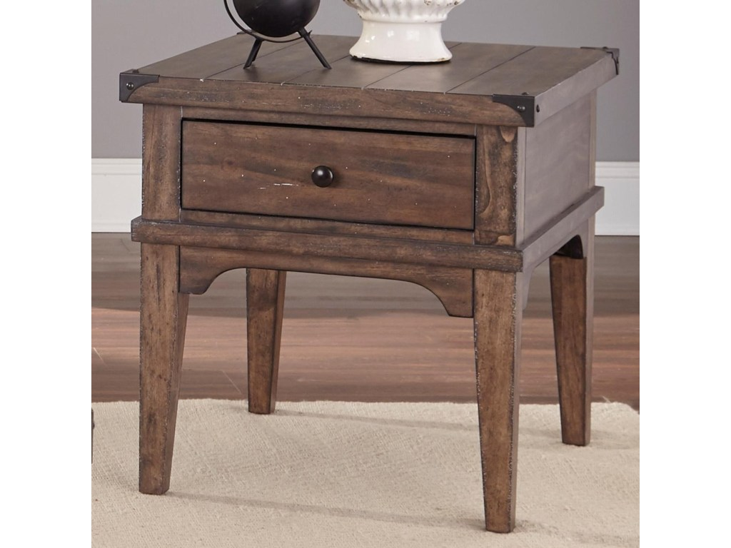 vendor aspen skies industrial casual end table with products liberty furniture color occ one drawer side wooden compact glass dining legends brentwood bookcase genuine leather