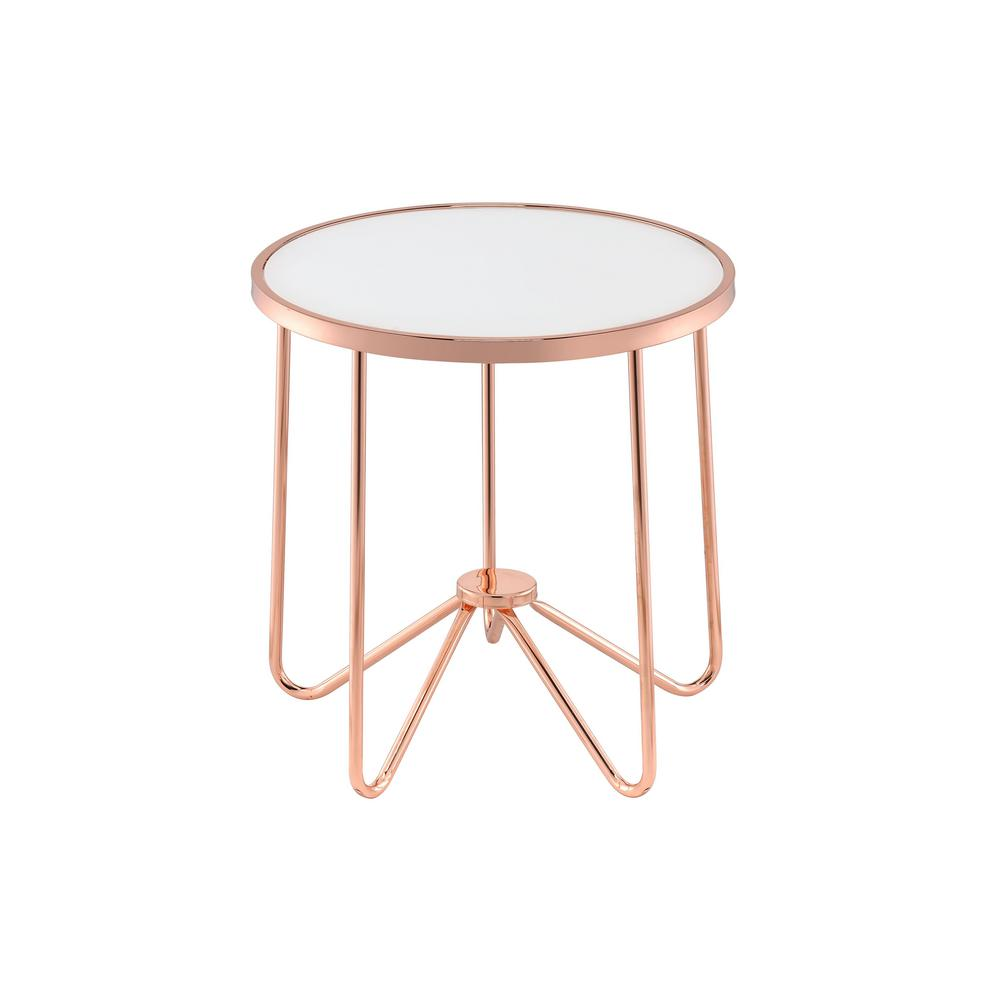 venetian worldwide alivia rose gold and frosted glass end table metallic coffee tables the decorating ideas with dark brown leather furniture modern wood sofa universal houston