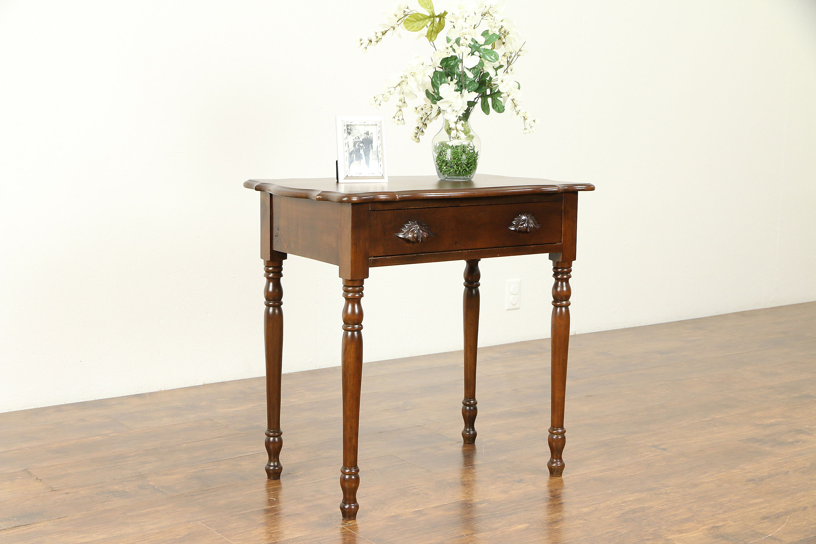 victorian antique cherry lamp end table nightstand carved pulls tables uttermost entry mirror glass ikea montreal furniture stanley young america caroline coffee for sectional