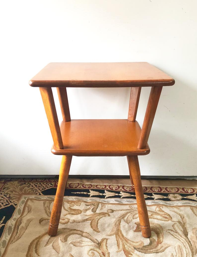 vintage baumritter wooden end table side etsy tables lounge cushions beige leather sofa round mirrored black square coffee with storage glass chairs interdesign bathroom pipe