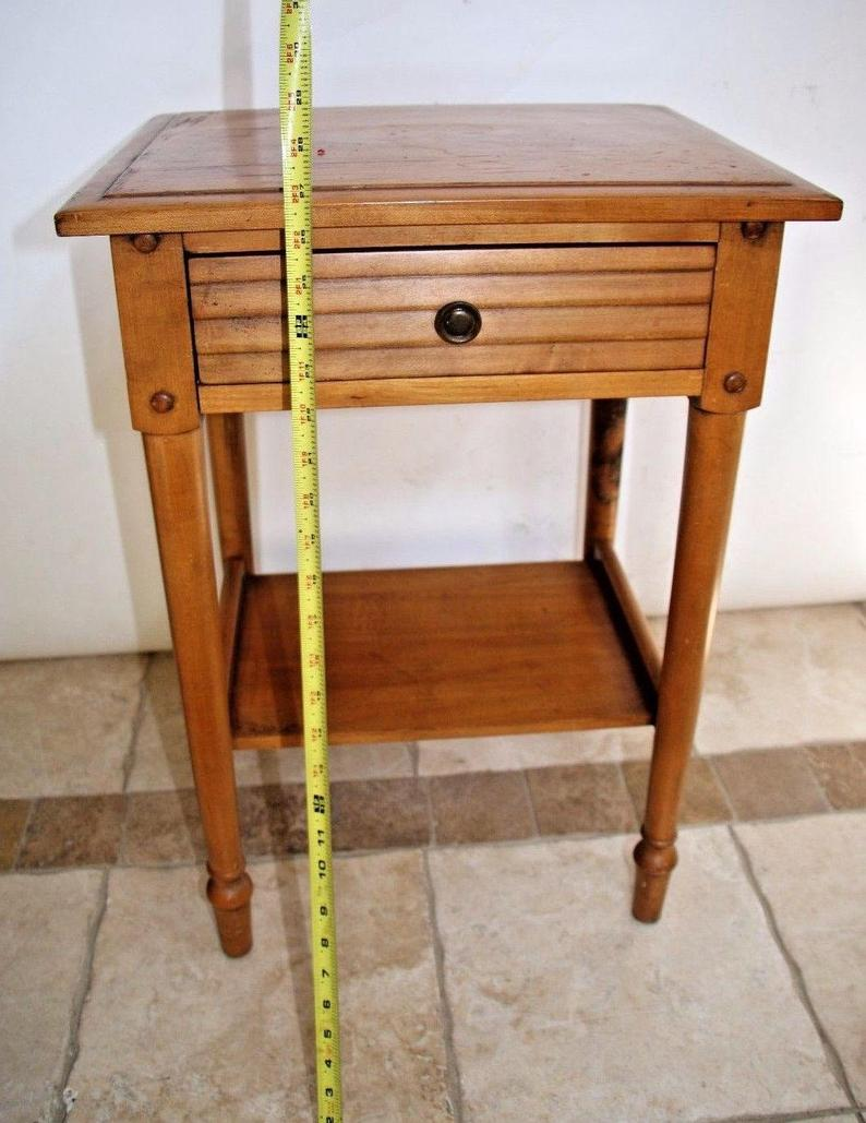 vintage bedroom end table with drawer and shelf maple wood etsy antique tables dining side furniture ashley year warranty coffee farmhouse style small wedge white patio simple