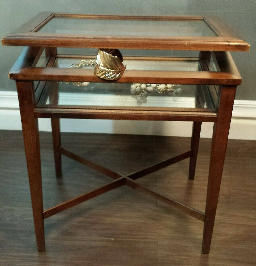 vintage brandt lift top wood glass vitrine display case jewelry side end table old bedside tables furniture row companies universal chest coffee espresso finish lamp dimensions