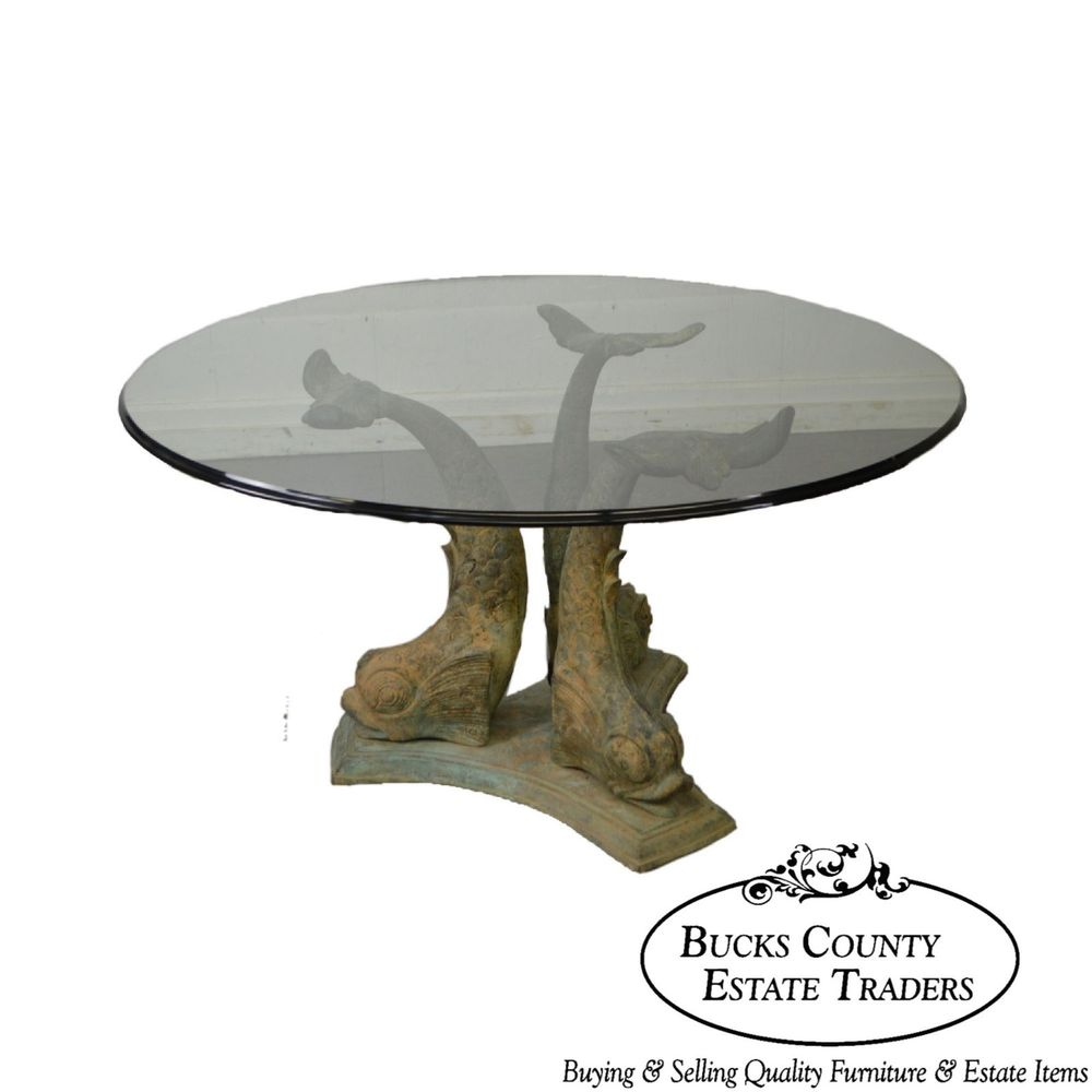 vintage bronze dolphin base round glass top center dining table end details about patio leons pub broyhill bedroom furniture reviews card and chairs target rosewood coffee leather
