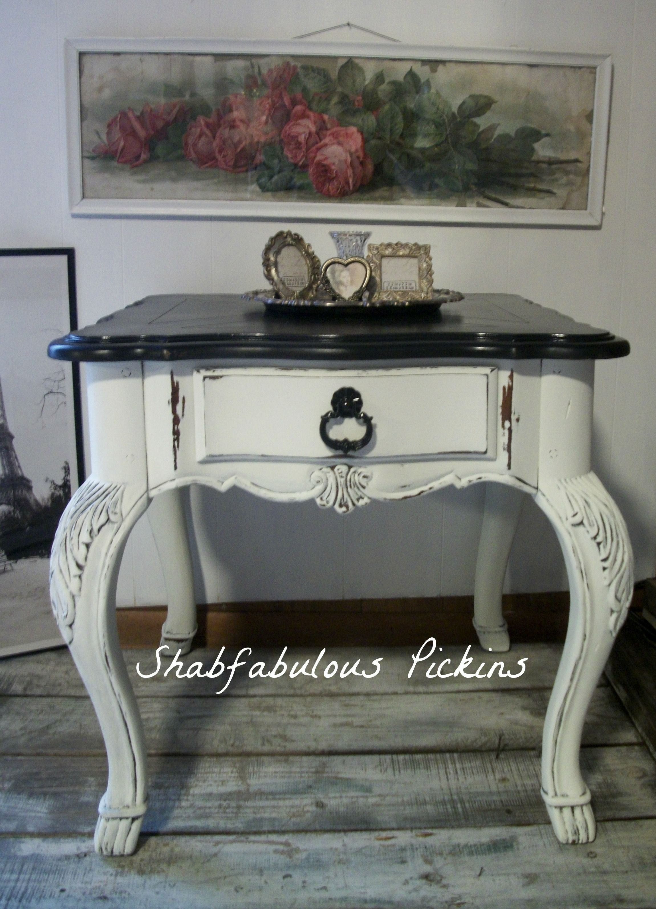vintage broyhill french provincial end side table shabfabulous tables shabby painted furniture cottage decor farmhouse ashley porter living room galvanized pipe threader outside