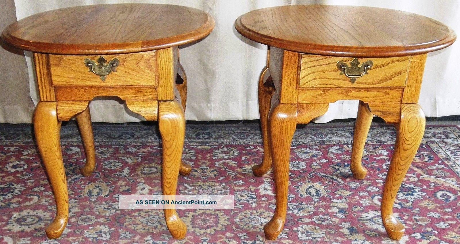 vintage broyhill oak queen anne side end tables drawers pair lgw eaten allen carved table square garden bayside furnishings ethan furniture wood glass and metal coffee building