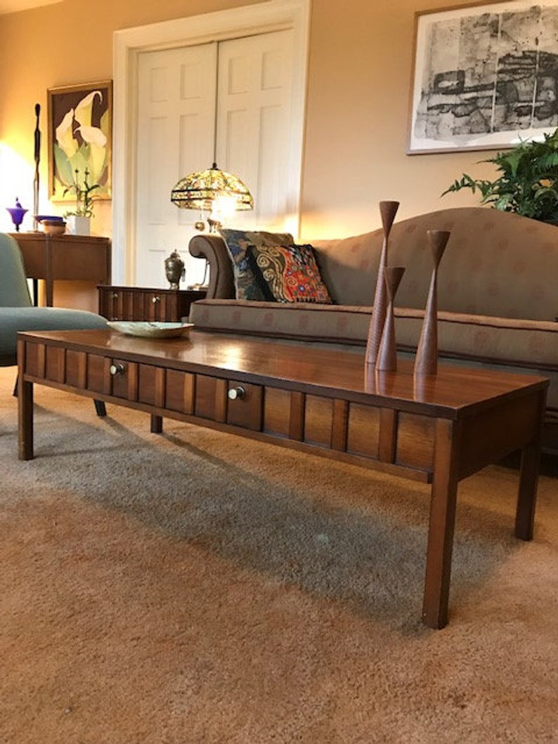 vintage broyhill premier walnut cocktail table set etsy sbnn end tables sofa behind steel side porter accent cottage farmhouse furniture ethan allen corner desk wedge shape