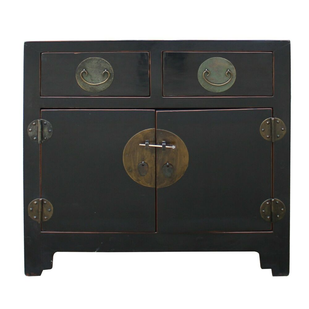 vintage distressed black lacquer oriental chinese side table cabinet end tables details about contemporary wood average dimensions glass top nesting coffee antique white round