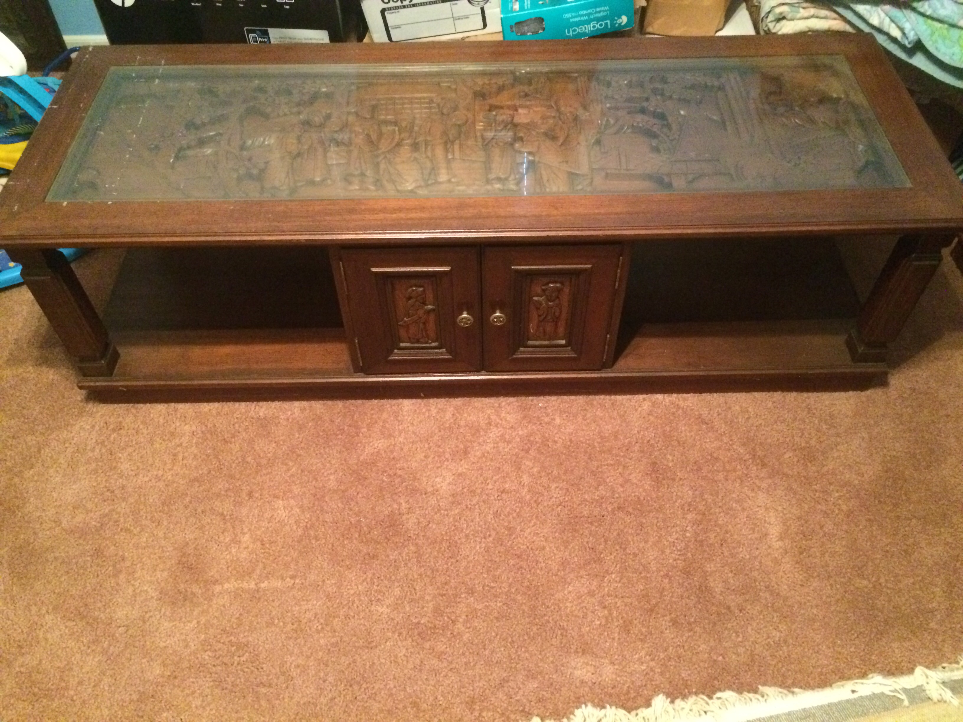 vintage ese carved teak coffee table and end tables antique ashley promo the row furniture small modern black sofa wood light oak bedside ethan allen dining outdoor wicker patio