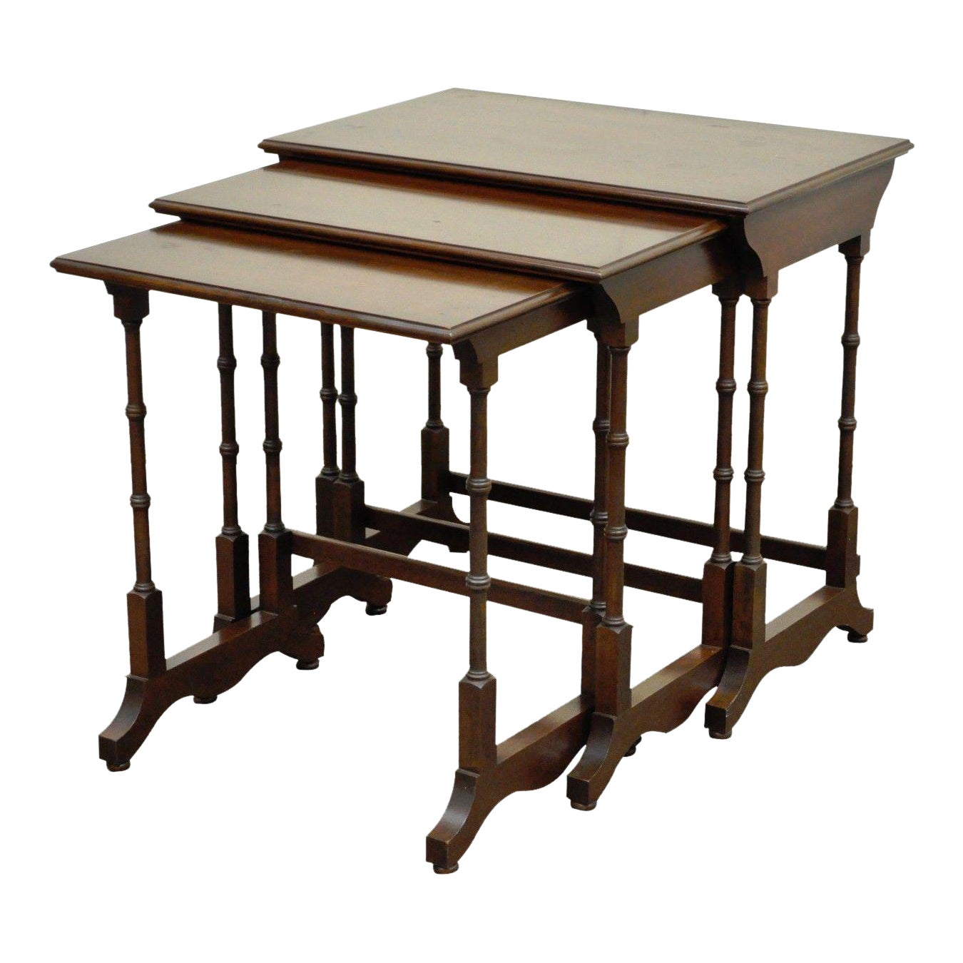 vintage ethan allen court solid cherry nesting nest side end tables chairish iron glass table tall dining room oak magnolia farms show small square outdoor diy indoor puppy pen