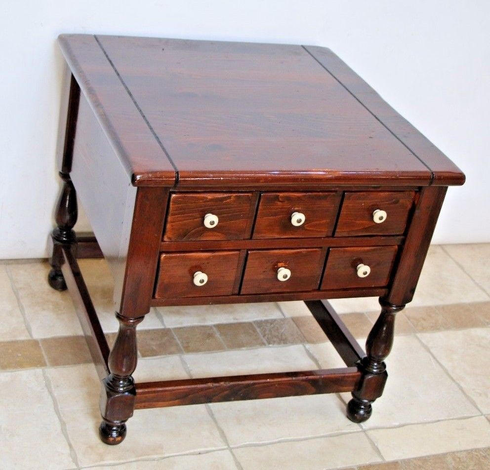 vintage ethan allen dark antiqued pine old tavern two drawer etsy fullxfull end tables spring liberty pottery barn fabric promo furniture riverside placid cove bedroom small brown