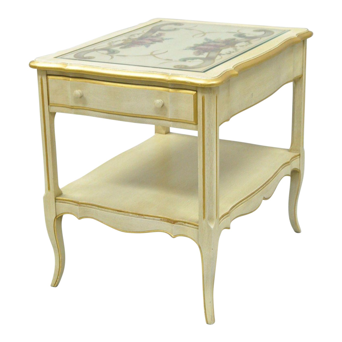 vintage french country provincial style floral painted cream drawer end table tables chairish dark cherry wood side calendar name sears furniture sofa rustic wheels ashley queen