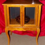 vintage oak wood vaseline lighted glass display case end table lift top coffee winnipeg can you paint veneer furniture marble and gold nightstand styling small white bedside unit 150x150