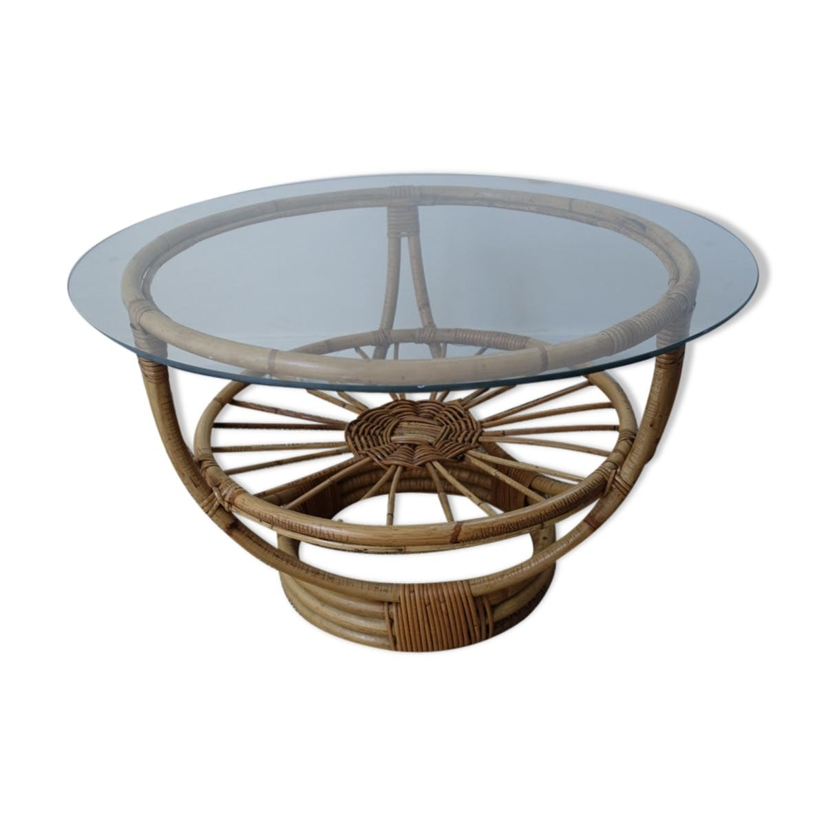 vintage rattan coffee table with glass top vinterior end tables cute dog kennel brown sofa carpet color john keal for saltman patio chairs west elm usa outdoor furniture saarinen