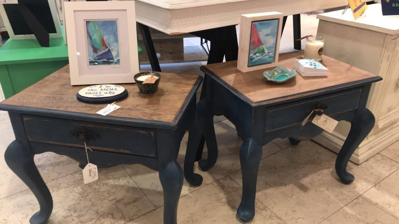 vintage shabby chic painted navy blue end tables side etsy fullxfull pkzs table lodgepole pine furniture placement magnolia home mirror chaise lounge sofa ashley country french