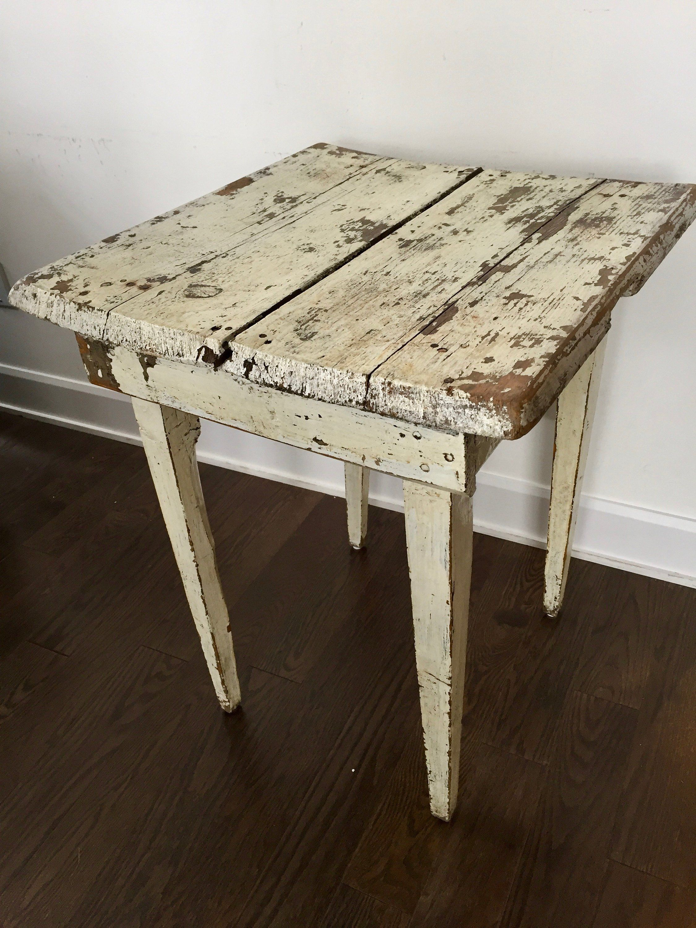 vintage white chippy table primitive side small antique end tables and coffee shabby paint farmhouse rustic cottage decor barnboardantiques pool furniture clearance urbanology