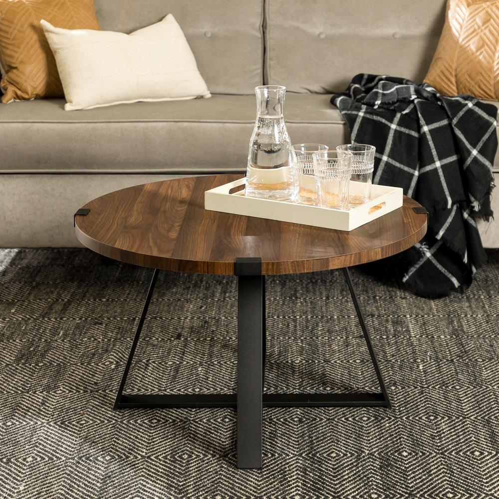 walker edison dark walnut black rustic urban industrial wood coffee tables end and metal wrap round table log outdoor furniture tall mirrored dresser fire set broyhill fur liberty