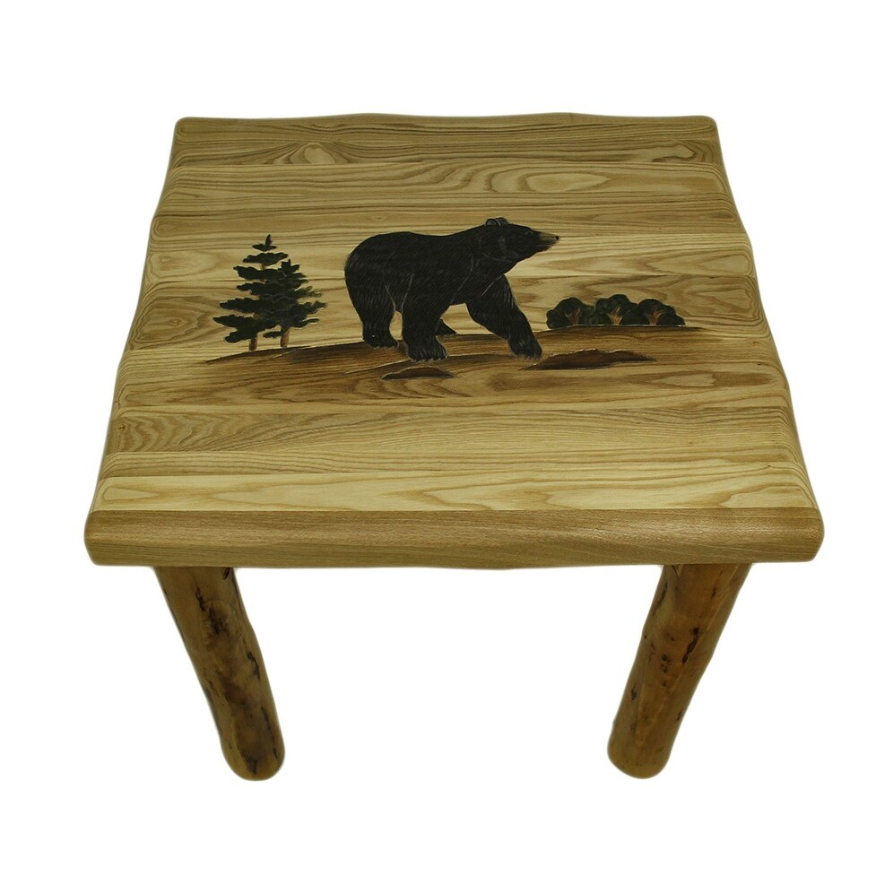 walking woodland bear hand crafted rustic solid wood end table black tables brown vintage stickley paint set bedside drawers distressed coffee diy dog furniture unfinished side