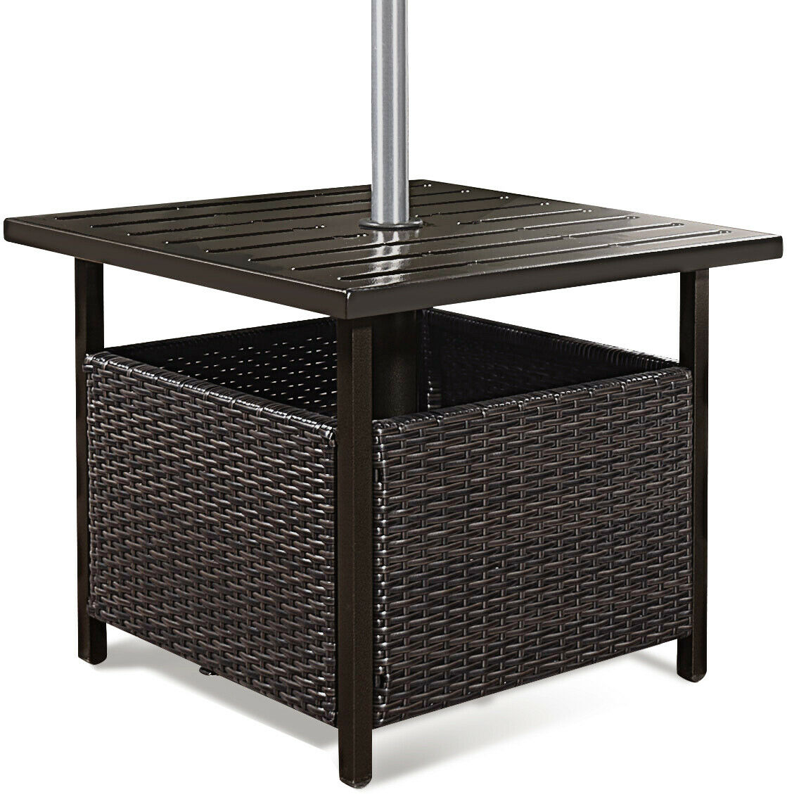 way brown rattan wicker steel side table outdoor black end furniture deck garden patio pool swing with canopy leick laurent hall console height lamps kmart sets coupon code sofa
