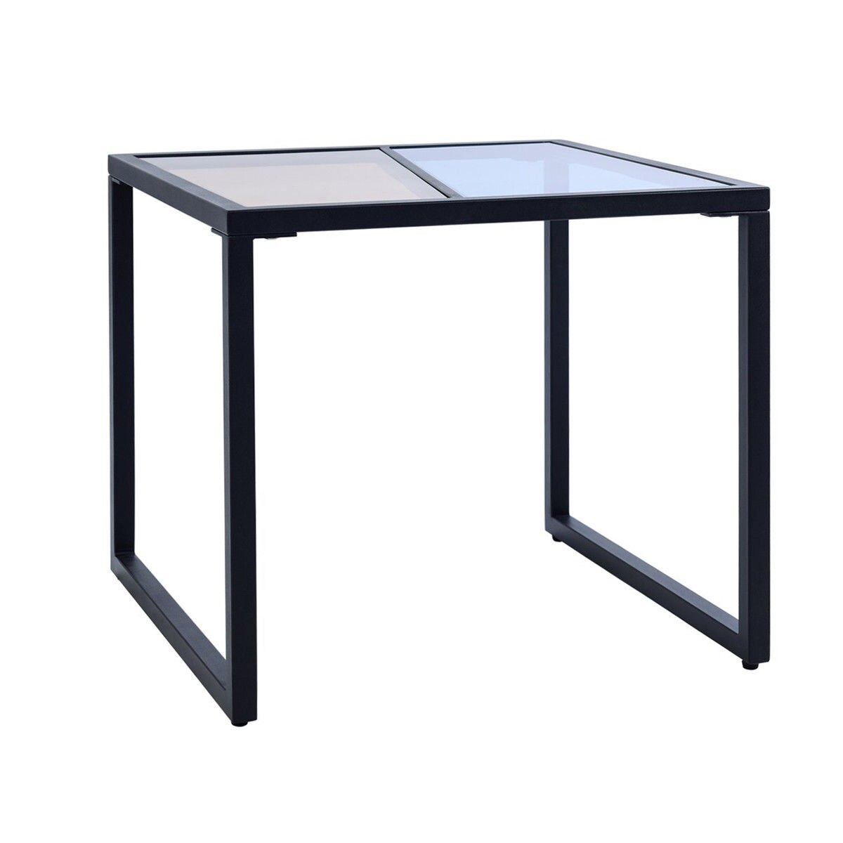 way square side end table tempered glass top metal tables living room frame furniture pottery barn cart coffee white with storage gustav stickley painted dresser wood outdoor
