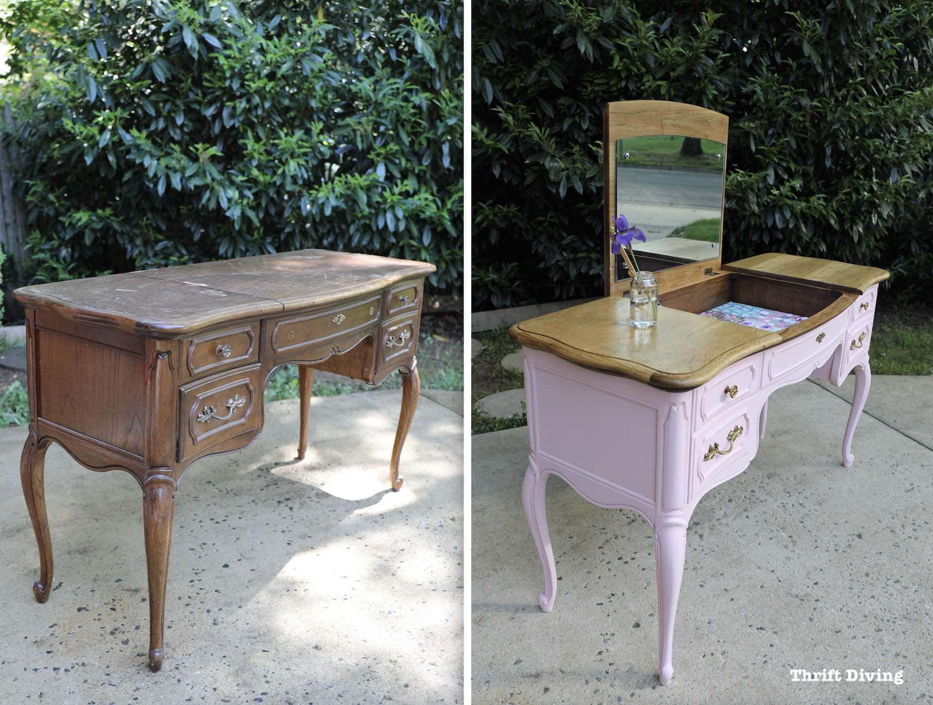 when should you not paint wood furniture french provincial vanity before and after thrift diving painting end tables black found this vintage chair the had qualms about frame