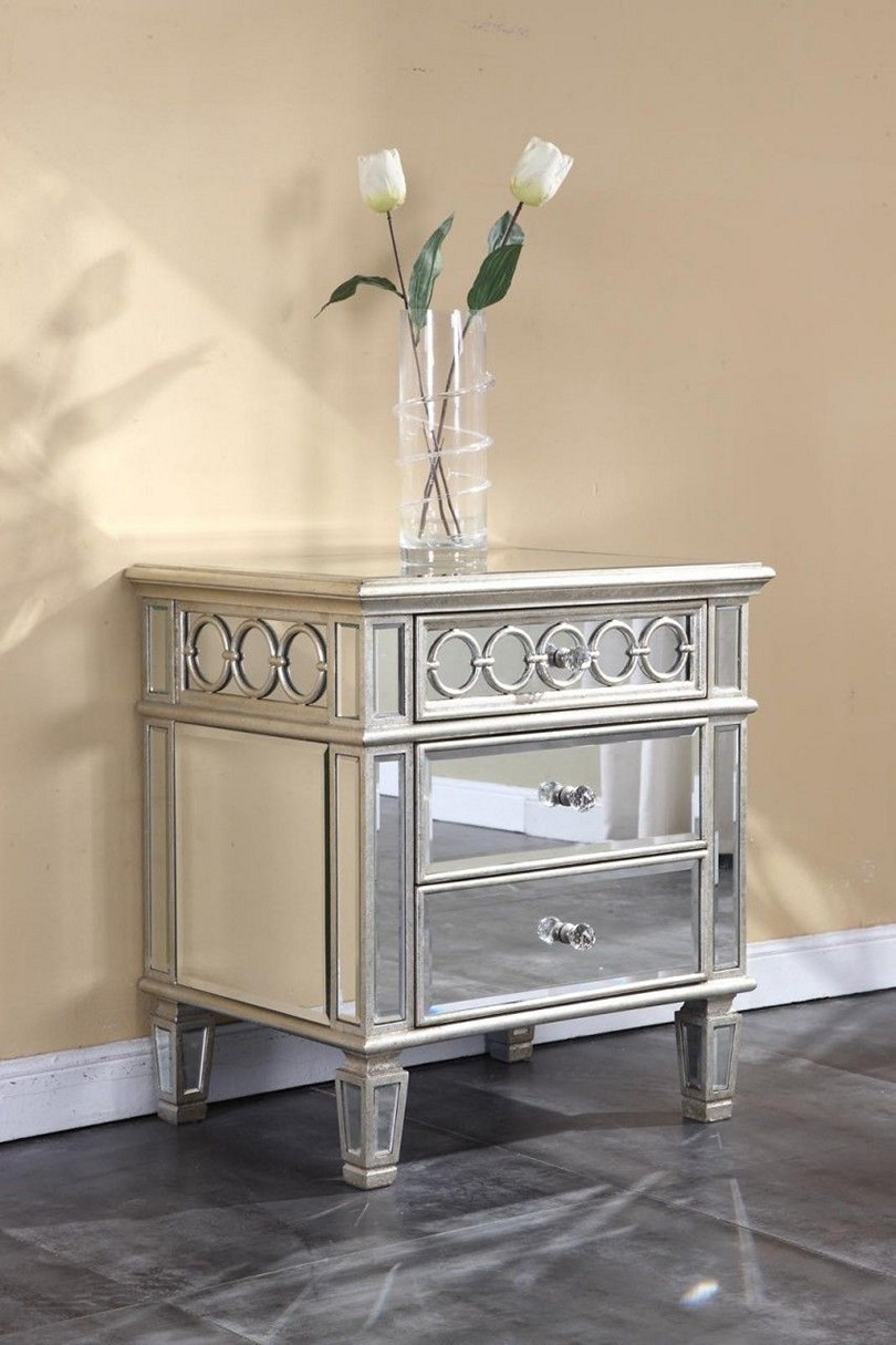 white night stands glass mirror drawers mirrored stand tall side table lamps for nightstands small round bedroom end tables modern gold coffee ethan allen ladder back dining