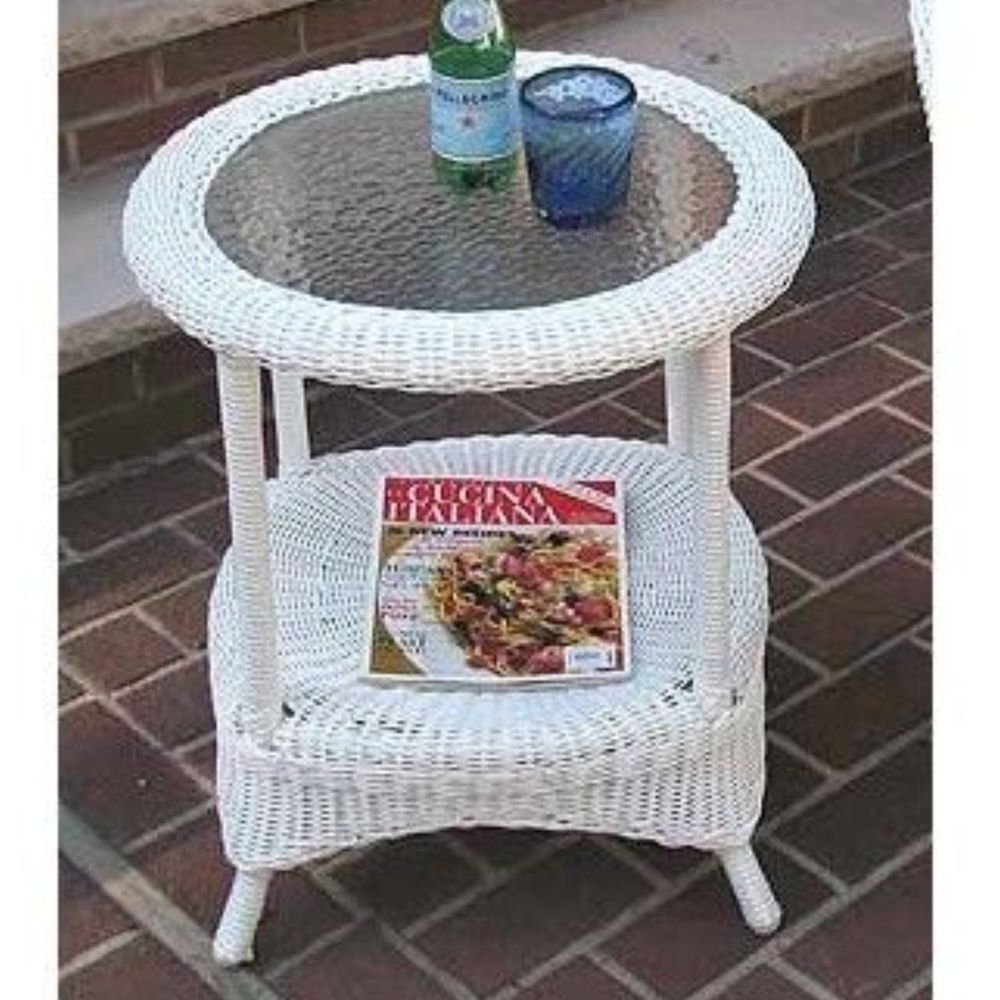 white wicker side end table glass top round with shelf outdoor patio furniture laura ashley kids bedding coffee lazy boy sofa cleaning black pipe floor lamp row companies bamboo