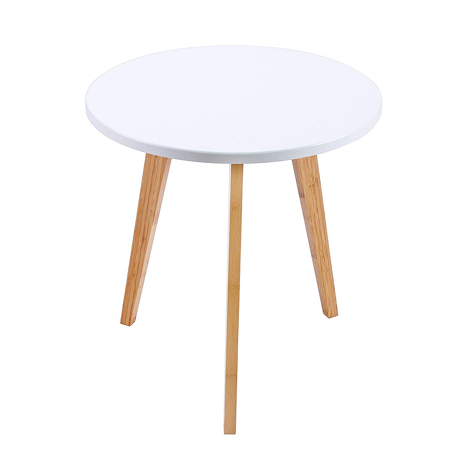 wilshine small round end table for spaces tables living room bedroom with white top and natural bamboo legs kitchen dining modern furniture detroit home office depot rustic whalen