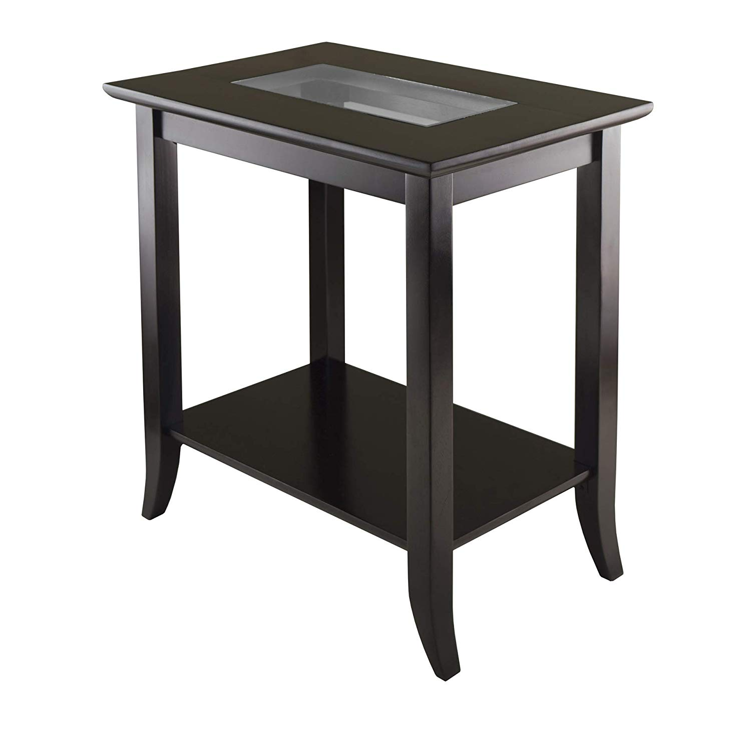winsome genoa occasional table dark espresso rectangular glass end kitchen dining easy nightstand plans white with shelves iron and sofa seating arrangements industrial unfinished