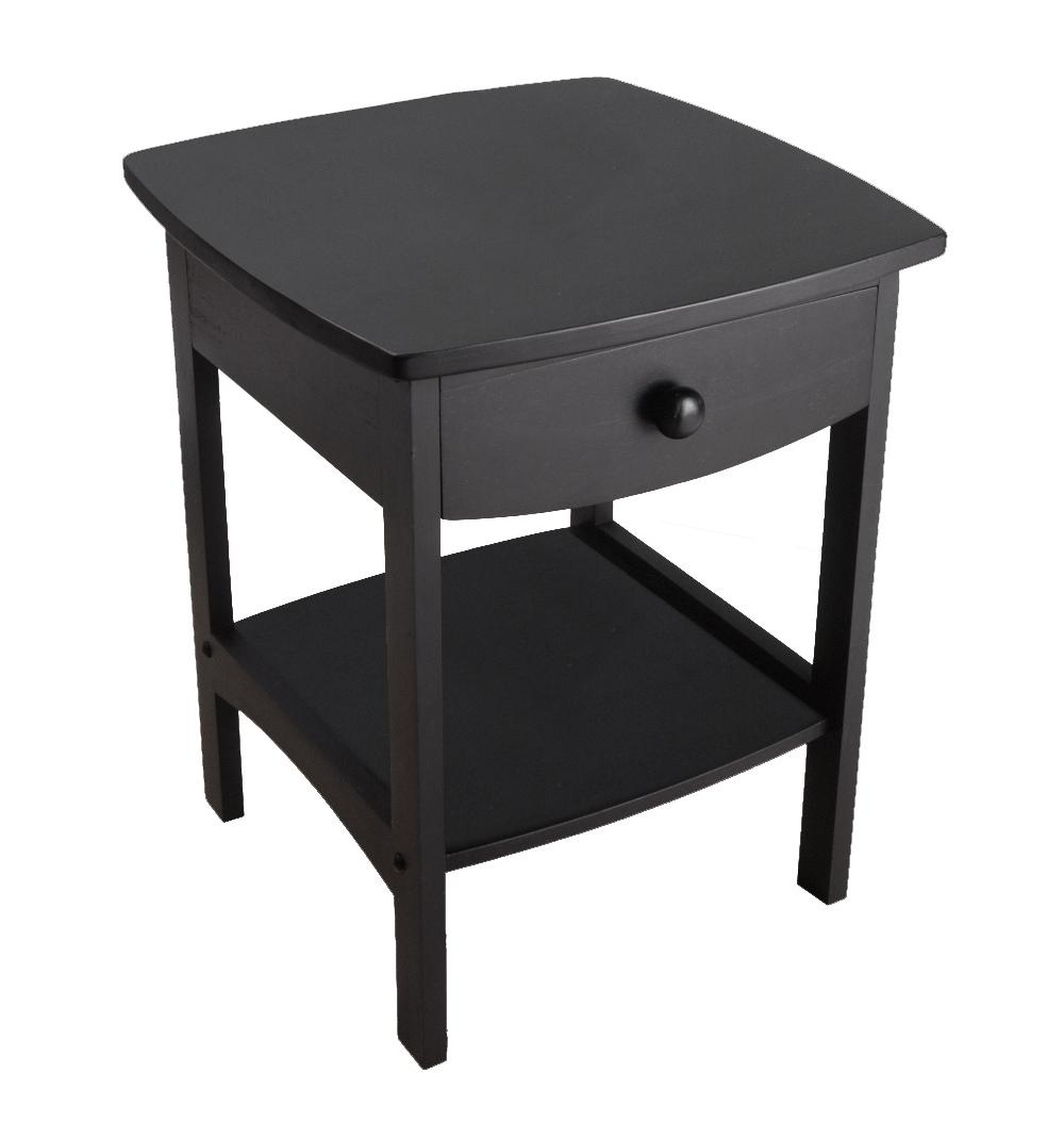 winsome trading curved drawer nightstand end table bedroom tables black dog beds made out suitcases ashley furniture home locations gold leaf square mirrored side riva resin