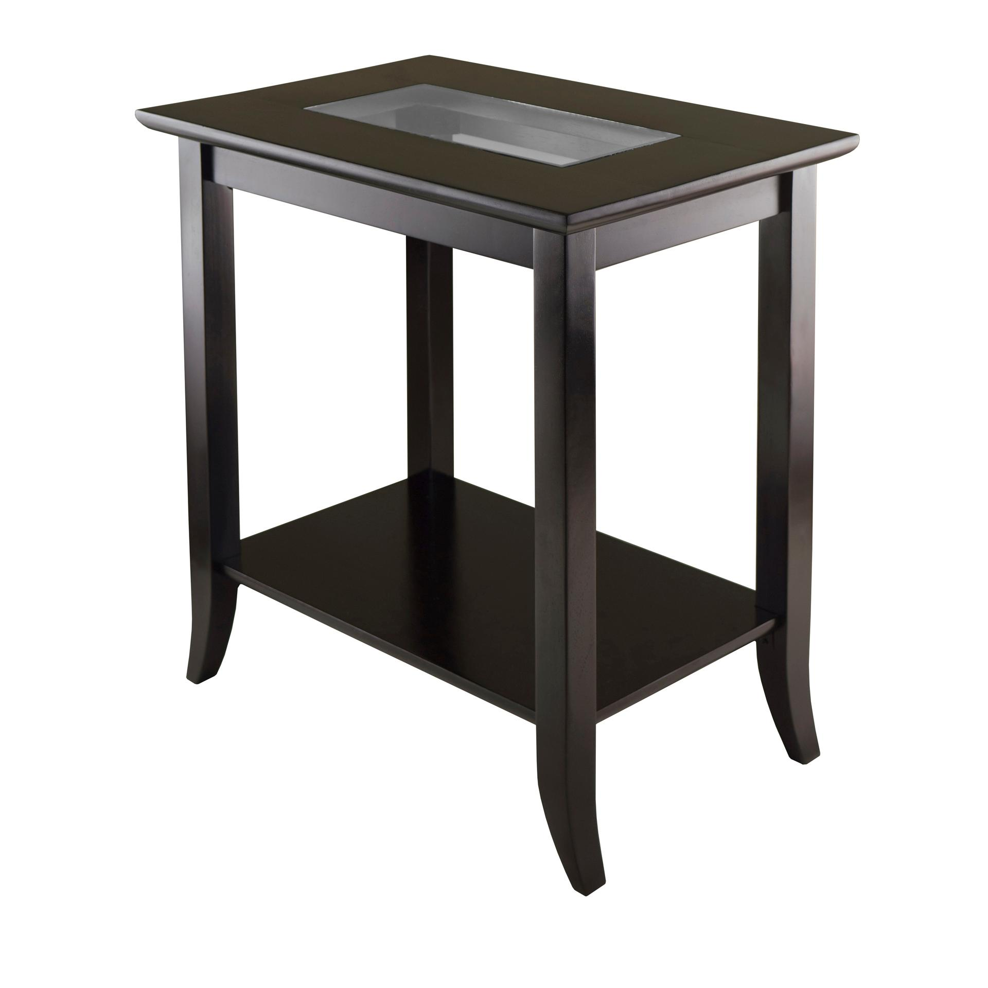 winsome wood genoa rectangular end table with glass top and shelf from the manufacturer inside dog kennels used office furniture north shore universal moderne muse best lazy boy