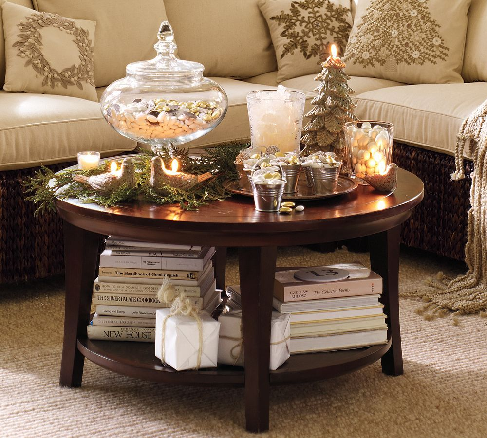 winter coffee table decorating tables small round end decor gold metal keepsakes pulaski dog out drawer corner side silver and glass nightstand navy blue painted dresser black