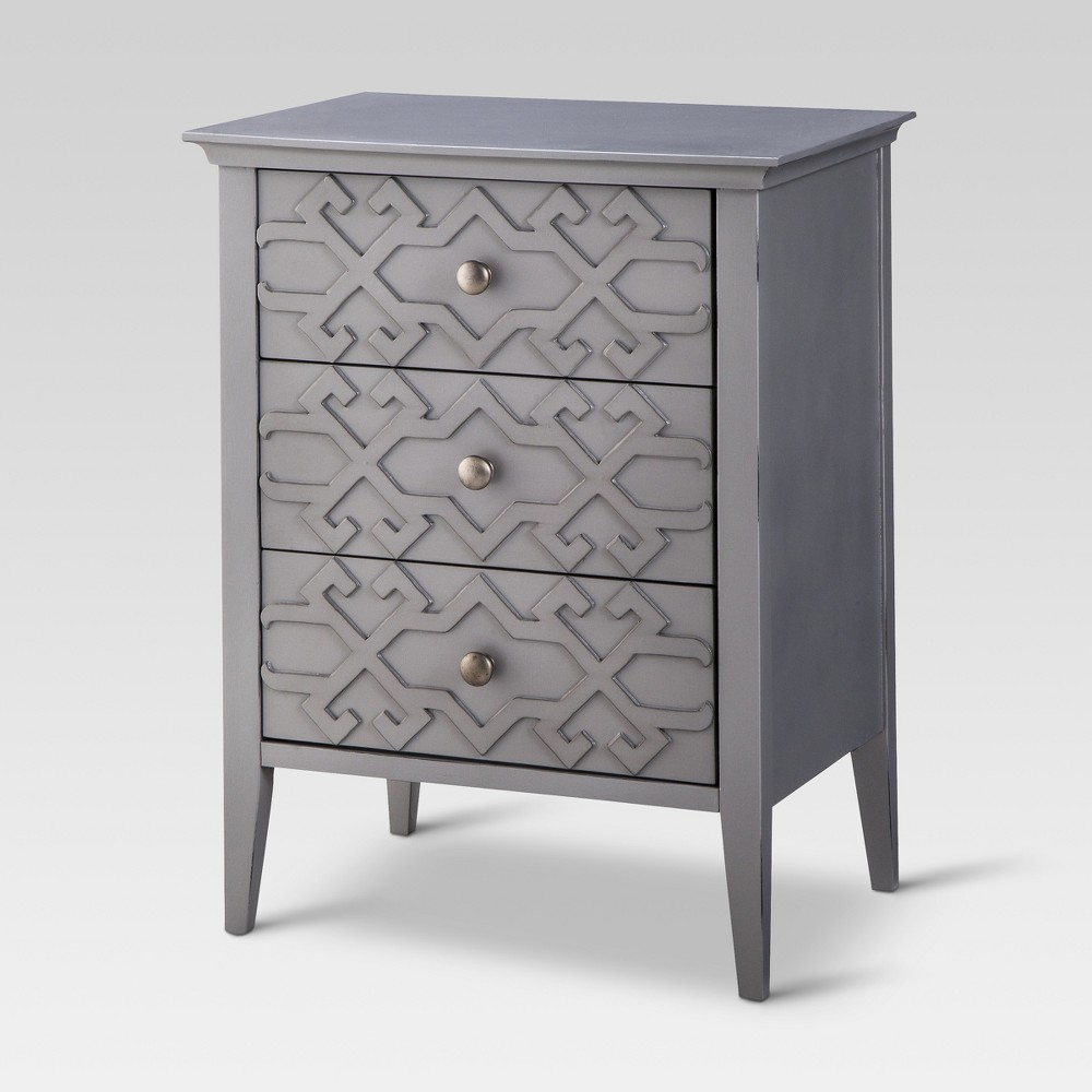 with mix vintage inspired fretwork and modern painted finish elkton end table three drawer the accent from threshold makes perfect finishing touch any room slide drawers make easy