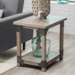 wood metal farmhouse rustic aged driftwood finish end table storage tables details about furniture threshold drawer accent powell round whalen ott corey coffee ashley living room 150x150