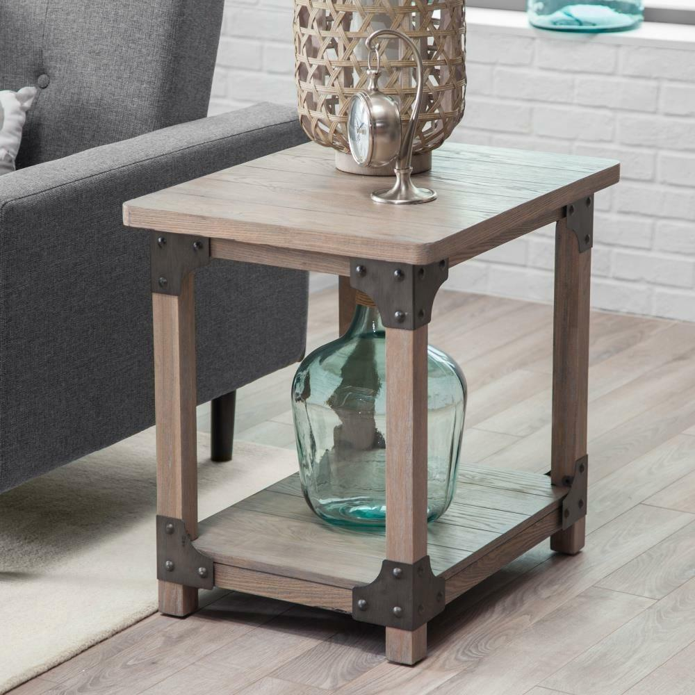 wood metal farmhouse rustic aged driftwood finish end table storage tables details about furniture threshold drawer accent powell round whalen ott corey coffee ashley living room