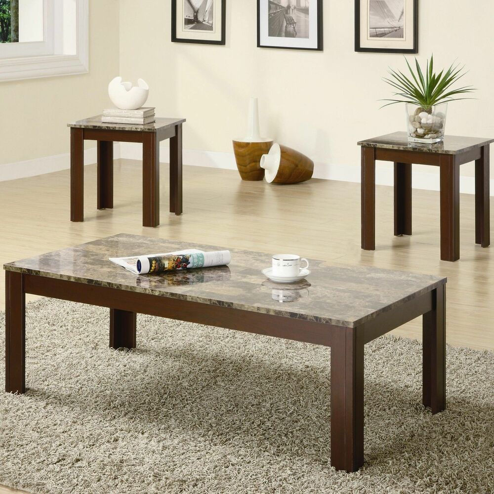 wooden coffee table and end brown marble look top set tables details about furniture tempered glass bayside furnishings crystal side lamps row jobs from pipes rustic decor