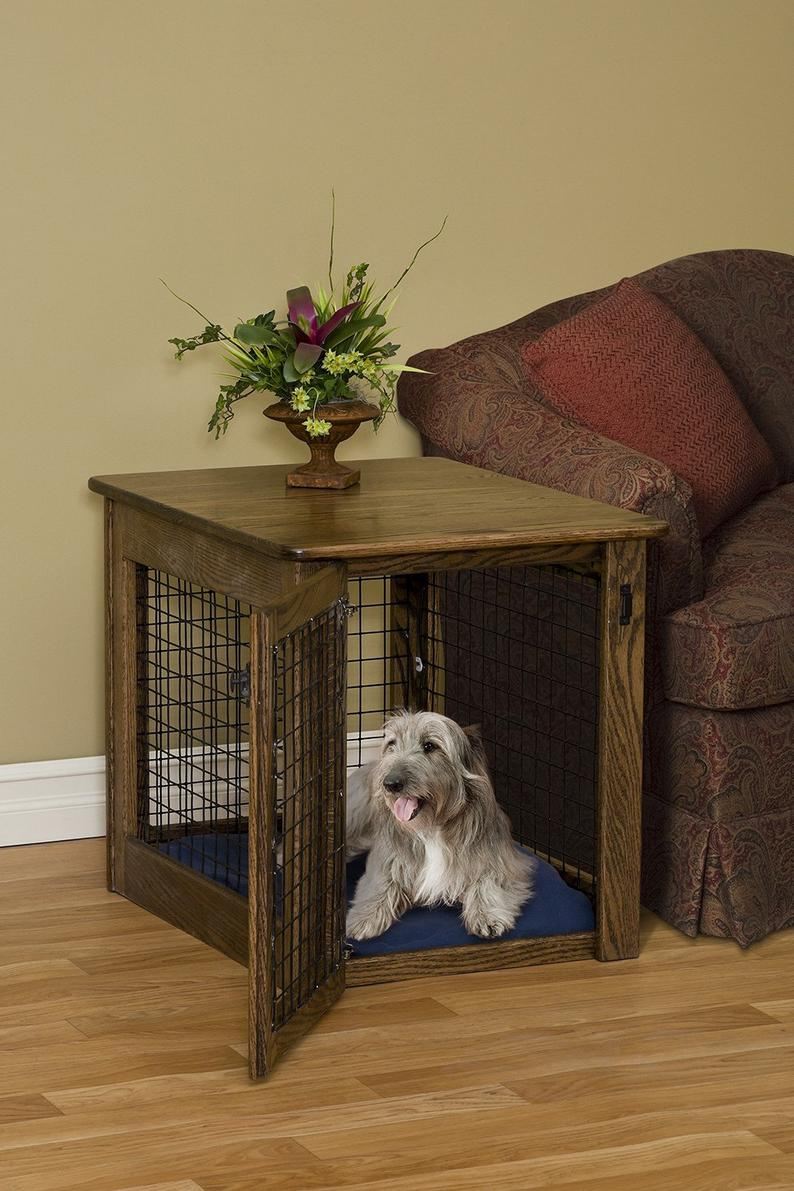 wooden dog crate end table chew proof pet furniture solid wood etsy laura ashley beds mirror with stand glass dining and chairs small brown rattan louie gray full loft mainstays