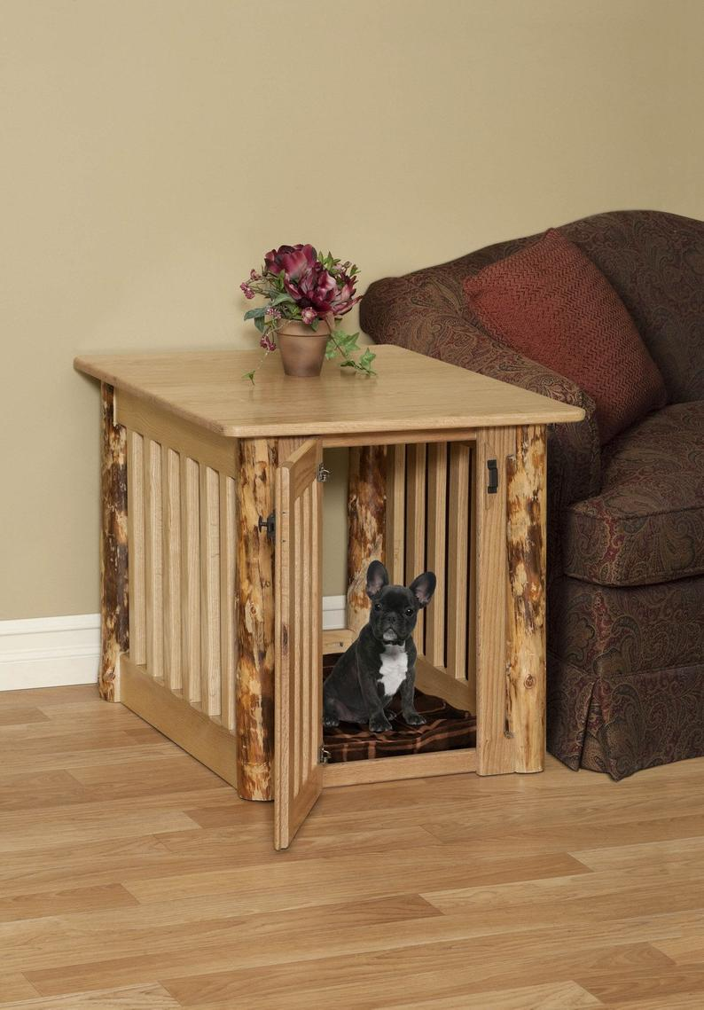 wooden dog crate end table with rustic log post oak wood etsy crates that look like tables out pallets inexpensive nightstands modern whole furniture kmart rugs raymond and