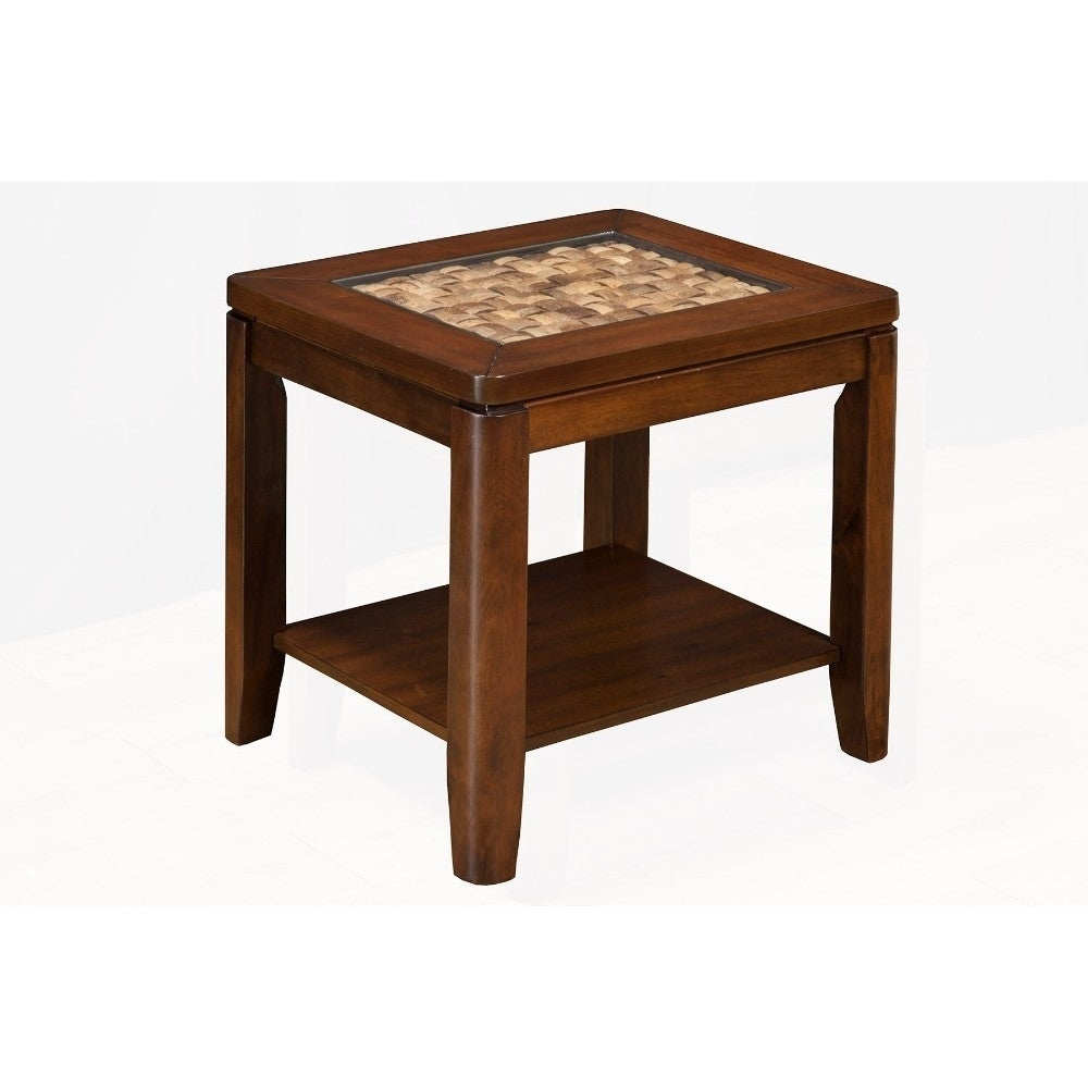 wooden end table with glass insert brown free shipping today antique pedestal coffee top furniture side tables edmonton modern shelf vintage kidney camel color leather sofa oval