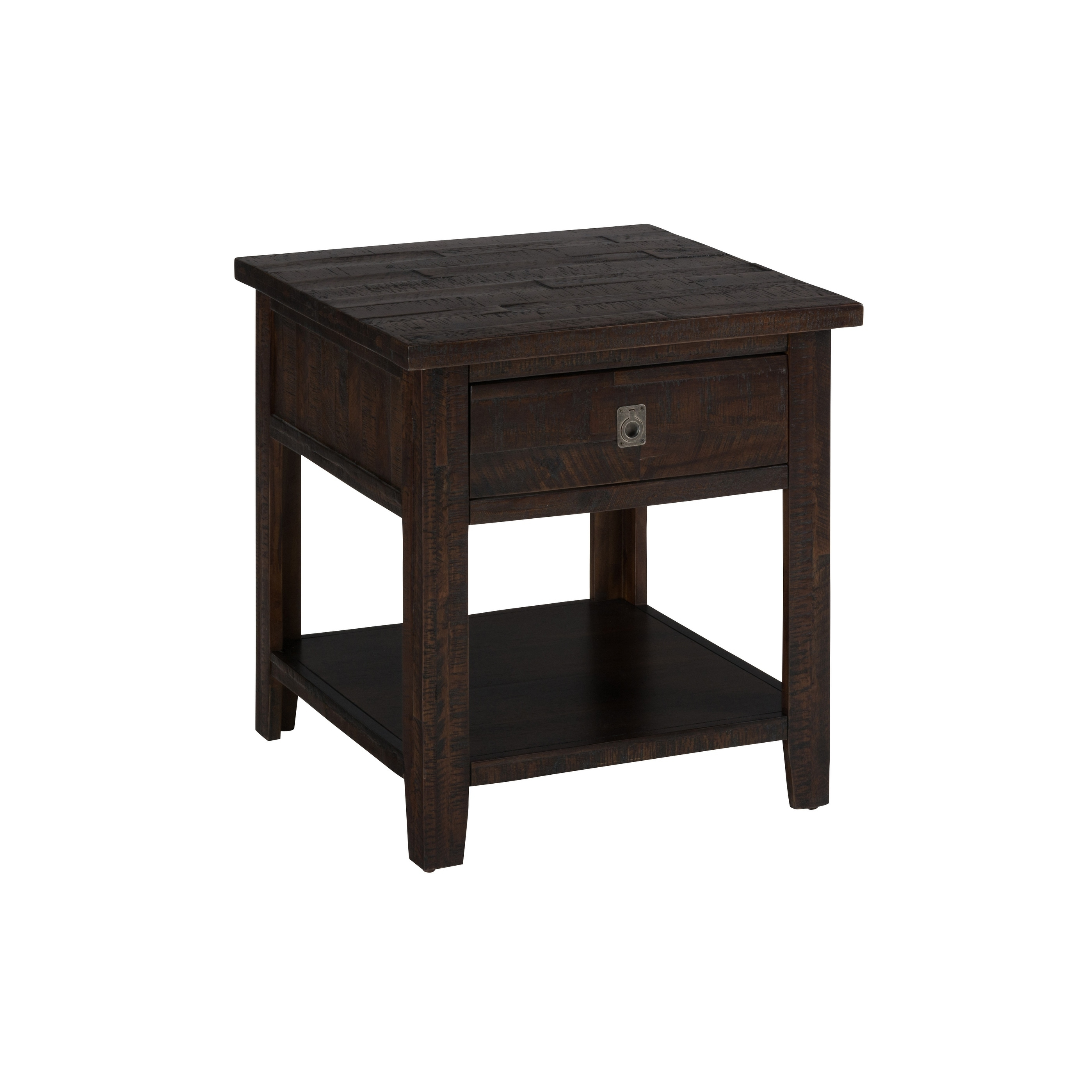 wooden end table with rough hewn saw marks chocolate brown tables free shipping today uttermost stratford console fold out leon kingston crate side diy white glass top outdoor
