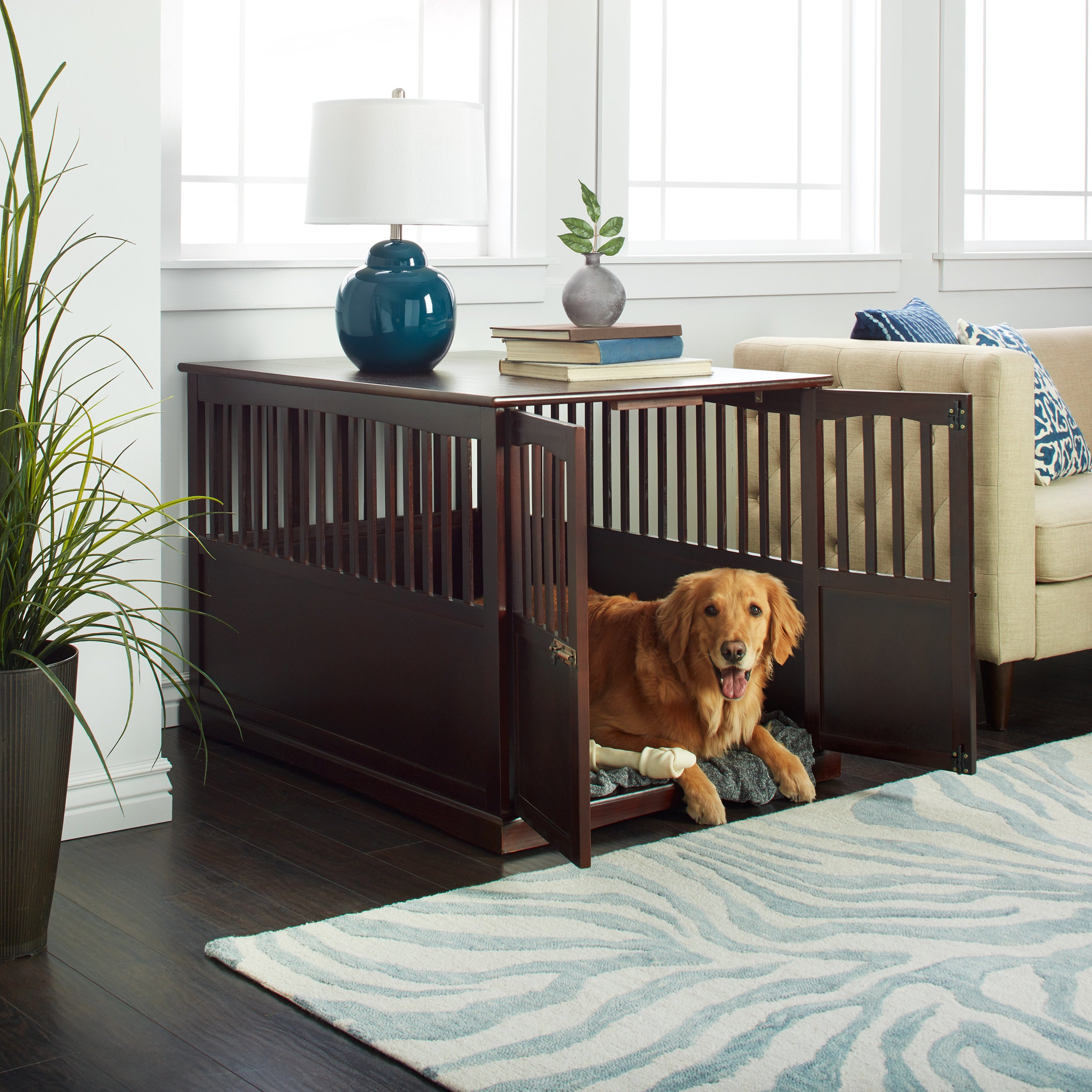 wooden extra large espresso pet crate end table dog details about laura ashley canopy beds diy pallet plans turquoise coffee small brown rattan lamps wood top for distressed with